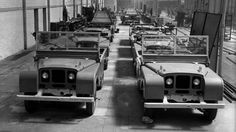 """Photo showing the last of the 48 pre-production 80"""" Series 1's (possibly R37 to R44) with galvanised chassis frames. Looks like Despatch department where LR's had their headlamps adjusted before the grilles are fitted."""
