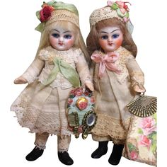 """Two Sweet 4"""" Bisque Head (swivel neck, Glass eyes) Antique Mignonette Dollhouse Dolls/ Sisters"""
