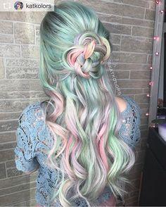 Work by @katkolors loving the color scheme   #hair #vivids #hairdye #greenhair #fairytailhair #beauty #daretobedifferent #pastelhair #love