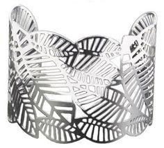 Bracelete de chapa folheado a prata com detalhes em forma de folhas