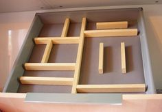 make your own kitchen drawer organizers & knife tray