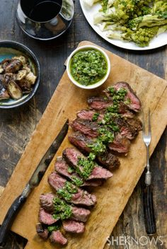 Hanger steak with Italian salsa verde