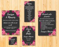 Kit digital casamento - Para imprimir    Kit contém:  Convite (15x21)  Convite individual (5x5)  Cartão de agradecimento (15x21)  Save the date (10x15)  Menu (10x21)    Podem ser feitos em outros modelos.    ECONOMIZE na sua festa comprando a arte digital. Você pode imprimir em casa ou gráfica, n...