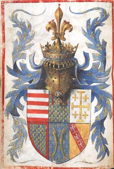 The arms of René d'Anjou, King of Naples (f°4v) -- Book of Hours, Use of Paris («The Hours of René d'Anjou»), Part 2: France, S. E. (Aix-en-Provence), c. 1442-1443, attibuted to Barthélemy d'Eyck. [BL Ms Egerton 1070]. -- See more at: http://www.bl.uk/manuscripts/FullDisplay.aspx?ref=Egerton_MS_1070