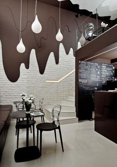Restaurant Wall Design by Brokat Polish Cafe Chocolate Wall and Pendant Lights