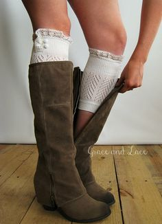 Dainty Lace Boot Cuffs 3 colors- TAN strechy knit boot topper lace trim & buttons - faux legwarmers - lace cuff - leg warmers (C10-19) via Etsy