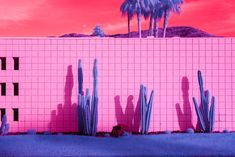 In 'Infra Realism', Melbourne-based photographer Kate Ballis reimagines the iconic Palm Springs landscape, producing hyper-saturated images that exude otherworldliness. Palm Springs Mid Century Modern, Melbourne, Palm Springs California, Hotel California, Infrared Photography, Retro, Trippy, Fine Art Photography, Psychedelic