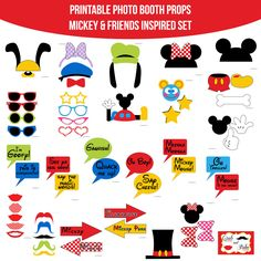 Instant Download Mickey Mouse and Friends Inspired Mickey Mouse Clubhouse Birthday Party Printable Photo Booth Props Photobooth Props-N by AmandaKPrintables on Etsy https://www.etsy.com/listing/217694524/instant-download-mickey-mouse-and
