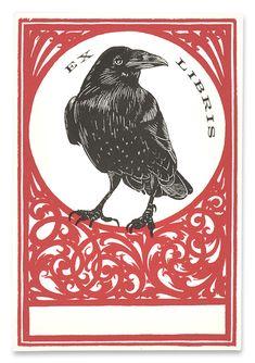 Raven Ex Libris from Pettingell Book Bindery, Berkeley, California