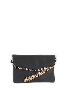 Faux Leather Envelope Clutch with Chain Link Accents,BLACK/GOLD