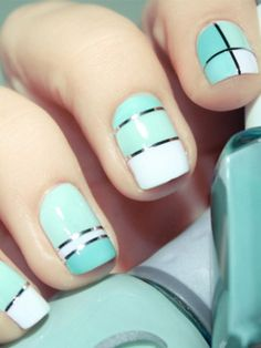Geometric manicure nail art: three color: mint green, aqua blue and white with silver striping tape, stripes, lines #squares| Pshiiit #pastel #spring #summer 2013