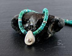 Ketten mittellang - Halskette Türkis mit Silber Tropfen Anhänger - ein…