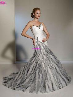 black wedding dresses 2013 | about 2013 unique mermaid white and black wedding dress bridal dress ...