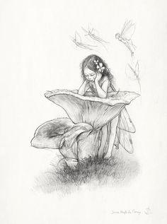 SIGNED Fine Art Print  Sketch CHANTERELLE  by StudioJBMongeGoblin, $15.00