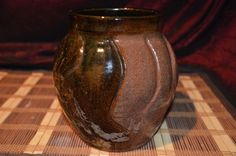 "HandMade Pottery Brown Vase Planter Utensil Holder 6 7/8""x5 1/2"""