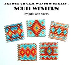 You are purchasing an odd count peyote digital pdf download....NOT the items in the photo. PEYOTE CHARM WINDOWS!!!! My SOUTHWESTERN SERIES! What are CHARM WINDOWS? They are the cutest little 1 inch by 1 inch squares, made using size 11/0 Delica beads and size 15/0 seed beads