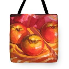 """Three Apples Tote Bag 18"""" x 18"""" from a painting by Fiona Craig, also in wall art, duvets and throw pillows (the FAA watermark will NOT appear on the purchased product)"""