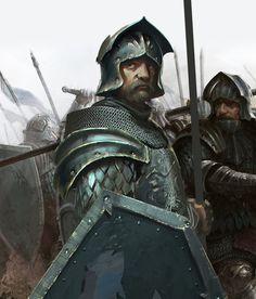 m Fighter Heavy Armor Helm Shield Lance Longsword male mercenary Tully Sworn Shields lg Fantasy Warrior, Fantasy Rpg, Medieval Fantasy, Fantasy Artwork, Fantasy World, Dark Fantasy, Dnd Characters, Fantasy Characters, Fantasy Inspiration