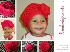 Red baby girl hat