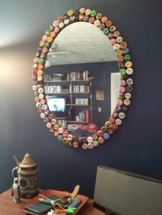 DIY bottle cap mirror