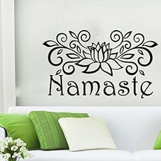 Namaste Wall Decal Vinyl Sticker Decals Lotus Flower Yoga Mandala Indian Ornament Moroccan Pattern Om Home Decor Bedroom Art Design Interior NS664