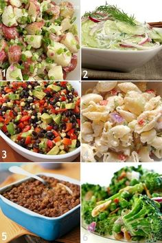 Summer cookout side dishes  Potato Salad, Cucumber salad,   Creamy parmasean pasta salad, Black Bean Salad, blazin' baked beans, crunchy Brocolli salad + she added two different recipes for burgers