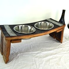 Wine Barrel Stave Dog Bowl serving dish made from Napa Wine Barrels recycled. Perfect for when I eventually get a dog. Wine Barrel Rings, Wine Barrels, Wine Barrel Diy, Barrel Projects, Wine Barrel Furniture, Pet Feeder, Bourbon Barrel, California Wine, Palette
