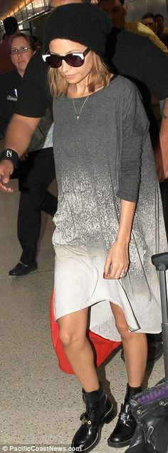 I want that dress! Nicole Richie...boots and grey