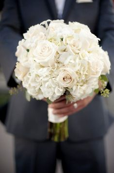 Bouquet 4 The roses look a little pink but if you don't want any green than just roses and hydrangea is always simple and very pretty! Bouquet Bride, Hydrangea Bouquet Wedding, White Wedding Bouquets, Floral Wedding, Wedding Colors, Wedding Flowers, Bridesmaid Bouquets, Purple Bouquets, Bouquet Flowers