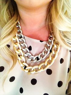 Double Strand Two Toned Necklace by lollysheep on Etsy, $35.00