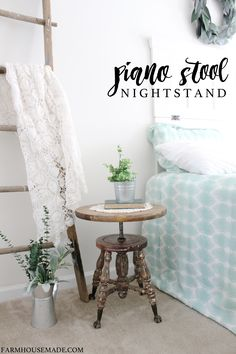 This heirloom piano stool was so rough looking before. Now it's a beautiful nightstand for a farmhouse bedroom.