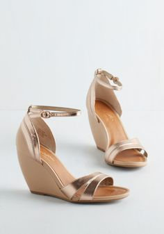 Bridal shoes aren't all white or ivory, Thus if you intend to put on a colourful wedding dress, you could try out a more unusual kind of wedding shoes. If you put money into designer bridal shoes they're very likely… Continue Reading → Gold Wedding Shoes, Wedge Wedding Shoes, Bridal Shoes, Wedge Shoes, Shoes Heels, Wedding Wedges, Wedge Sandals, Cute Shoes, Me Too Shoes