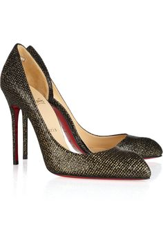 Christian Louboutin | Chiarana 100 glittered leather pumps | NET-A-PORTER.COM