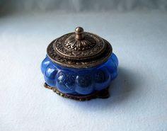 Vintage Art Nouveau Cobalt Blue Glass Trinket Powder Box. $36.00, via Etsy.