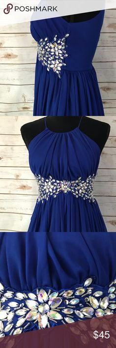 Royal blue sleeveless prom dress rhinestones Worn once and in great condition.  Length 27 inches size 5/6 Dresses Prom