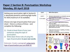 A fully differentiated and resourced lesson that focuses on AQA English Language Paper 2 Section B and students' use of punctuation (part of The lesson is ideal for both and students and can be easily adapted for a wide range of abilities. Aqa English Language, School Study Tips, Differentiation, Punctuation, Teaching Resources, Sentences, Student, Paper, Classroom Ideas