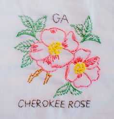 Cherokee Rose embroidery pattern. I didn't realize it's Georgia's state flower. Is it horrible that I would make this *just* because of The Walking Dead?