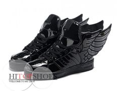 All Black Adidas Shoes with Wings High Tops Patent Leather men women