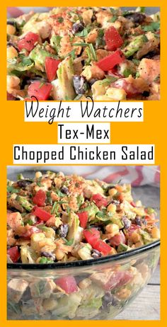 tex mex salad & Chopped Chicken Salad & Freestyle Weight Watchers Recipes Source by weightwatchersrecipesfreestyle Salade Weight Watchers, Poulet Weight Watchers, Plats Weight Watchers, Weight Watchers Diet, Weight Watchers Recipes With Smartpoints, Weight Watcher Recipes, Weight Watchers Appetizers, Weight Watchers Vegetarian, Weight Watchers Lunches