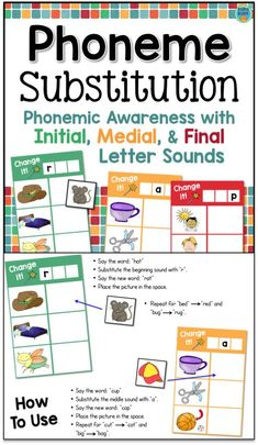 Phoneme Substitution - hands-on activities for beginning, middle, and ending sound substitution Teaching Phonics, Phonics Activities, Hands On Activities, Teaching Reading, Teaching Resources, Teaching Ideas, Phonics Rules, Therapy Activities, Therapy Ideas