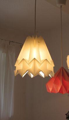 Origami lamp, Plissee lamp, folded paper lampshade