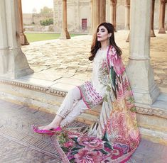 Cambric Cotton And Semi Lawn Cotton Ivory White And Vivid Pink Pakistani Stylish Embroidred Designer Suit With Digital Printed Dupatta. Product code For order and details please call or whatsapp 9878010541 Pakistani Dress Design, Pakistani Outfits, Indian Wedding Outfits, Indian Outfits, Beautiful Suit, Beautiful Dresses, Casual Dresses, Fashion Dresses, Summer Dresses