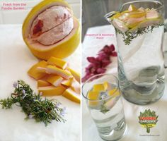 Grapefruit and Rosemary water from Shirley's foodie garden. Drink it or splash it on your skin to refresh! FoodieGardener.com
