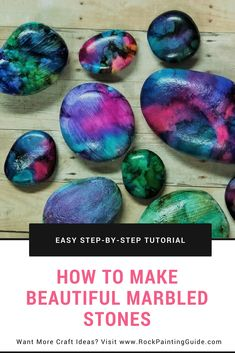 Rock Painting Guide features a tutorial on how to use alcohol inks on rocks and many other tutorials for beginner friendly rock painting. #stonepainting #rockpainting #art #crafts #diy #tutorials #inspire #beautiful #painting #creative #alcoholinks