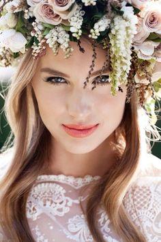 Flower garland, flower headband, floral hair piece, wreath, wedding hair inspiration, boho bride, natural, back to basics  www.facebook.com/officialboudoir