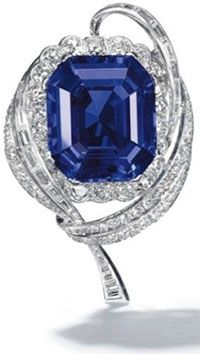 "A lovely sapphire and diamond brooch by Mellerio (lot 358, right) inched close to the price-per-carat achieved in New York last month (see ""Two more…"" below). The high-end presale estimate was $589,967, but it went for nearly six times that: almost $3.7 million—$77,500 per carat. It's a record price per carat for a Burmese sapphire at auction. Laurence Graff was the buyer."