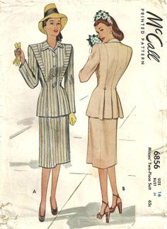McCall 6856 Vintage 40s Sewing Pattern Jacket by studioGpatterns, $16.50