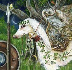 Athena by Janie Olsen ☽☯☾magickbohemian Owl Art, Green Man, Magical Creatures, Whimsical Art, Amazing Art, Illustrators, Fantasy Art, Illustration Art, Artwork
