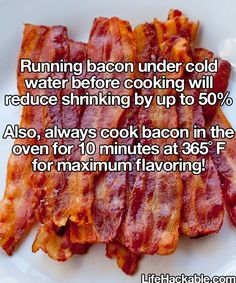 If you run bacon under cold water before cooking you can reduce shrinking by Take that, Seinfeld! Try cooking your bacon in the oven for the best flavor. Think Food, I Love Food, Good Food, Yummy Food, Tasty, Breakfast And Brunch, Breakfast Recipes, Breakfast Ideas, Perfect Breakfast