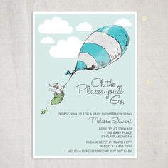Baby shower invitation  Oh the Places by BlondeandBrindleLLC